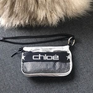 Chloé sporty silver & black pouch